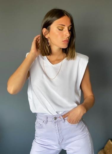 Loves You V Yaka Vatkalı %100 Cotton T-shirt Beyaz